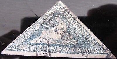1950 south Africa cape  good hope  1850's Triangle VIER PENNY   USED LIGHT BLUE