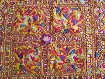 """Vintage Mirror India Exotic Ethnic embroidery Gujarat 2 squares 27"""" approx."""