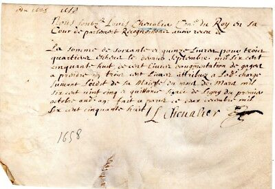 1658, Louis Chevalier, Counsel to King Louis XIV, Parliament signed document