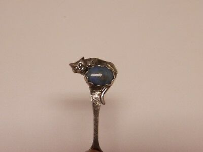 Salt Spoon Sterling Silver (  Cat w/ Blue Lapis    )