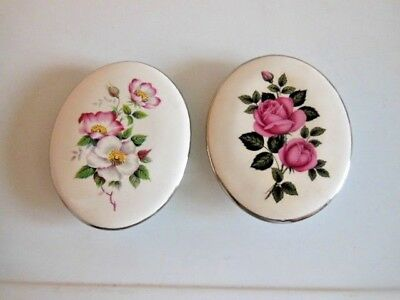 Vintage Eastgate Pottery Wall Plaques X 2 Floral Oval  Wall Hangings 4.5 X 3.5''