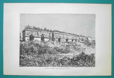 MEXICO Ruins of Uxmal Governor's Palace - 1891 Antique Print Engraving