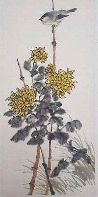 Antique Chinese 19th/20th Century Watercolour Painting Bird Flowers ESTATE FIND