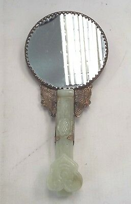 Vintage CHINESE Hand Mirror With Jade Handle & Colourful Dragon Design - G36