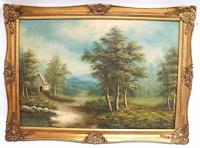 Large Original Signed Canvas Oil Painting House In Countryside Landscape - H46