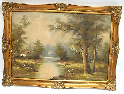 Large Original House By River In Wooded Landscape Canvas Oil Painting - H46