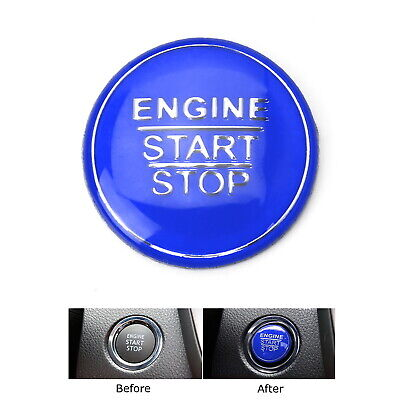 Blue Keyless Engine Push Start Button Cover For Toyota Camry Tacoma Prius Avalon