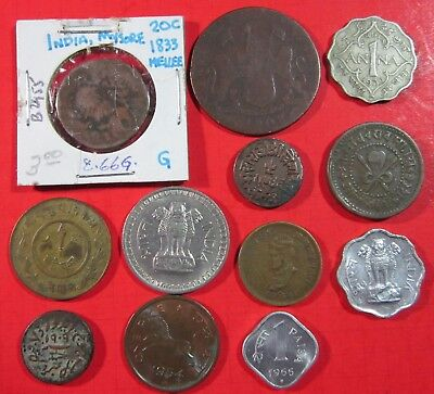India. Assorted Vintage  Lot Of 12 Coins. Various Types And Metals.