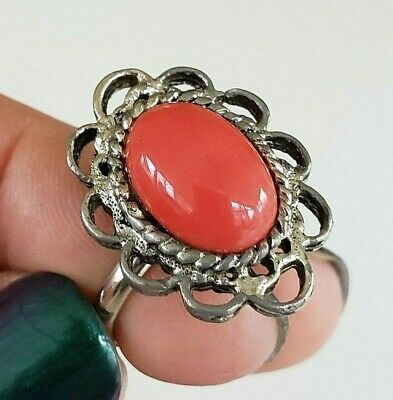 Vtg Faux Coral Silver Tone Ring Dome Oval Fx Coral Gls Cab Adj 5