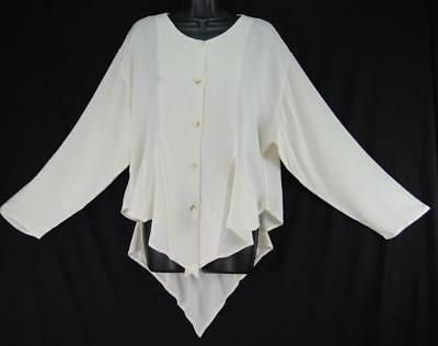 TIENDA HO~Ivory White~woven susti~NAJMA TOP~Coattail~Quilted~FITTED~Gored~OS