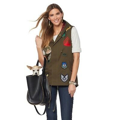 Sheryl Crow Military Patch Vest Removable Faux Fur Trim Hood OLIVE S NEW 552-650