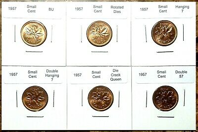 Canada 1957 6 Coin Variety Set of Small Cents Choice to Gem BU Red!!