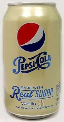 "EMPTY UNOPENED 12oz Can American ""Real Sugar"" Pepsi Vanilla (New Style 2014) USA"
