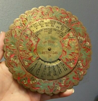 Vintage Brass Perpetual 75 Year Calendar 1971 to 2045, Beautifully Intricate