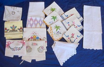 Vintage Lot 15 Kitchen Linens Dish Towels Napkins Crochet Embroidery Variety