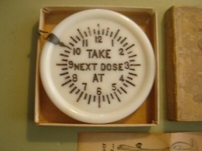Antique  Acme Medicine Glass Cover and Dose Reminder, 1896, Box and Instructions