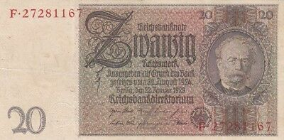 1929 Germany 20 Reichsmark Note, Pick 181a