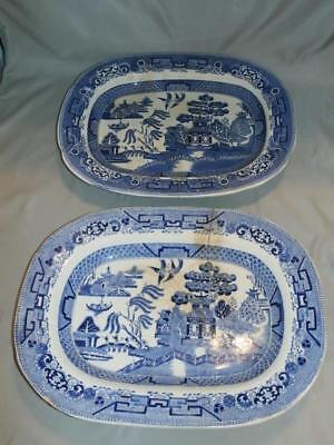 2 c.1927 Ridgway Pottery Scalloped Edge Blue Willow Oval Serving Platters As Is