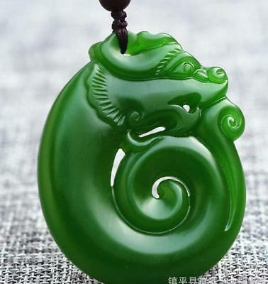 Natural Green Jade Pendant Necklace Amulet Jewelry Dragon 龙 Hand engraving