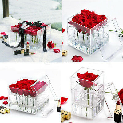 Romantic Clear Acrylic Rose Box with Cover for Flower Fresh-keeping Display
