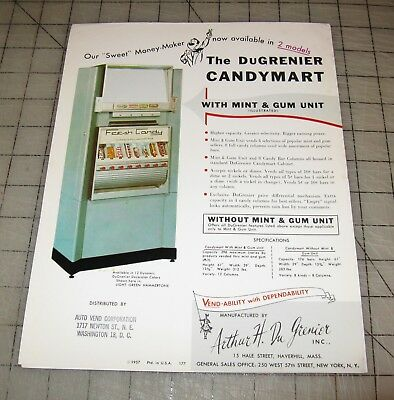 "1957 DuGrenier ""CANDY MART"" Vending Machine Co. Advertising Ad Sheet - Nice!"