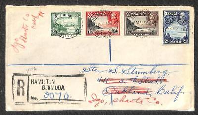 Bermuda Scott #105 106 107 & 110 King George Stamps Registered Cover To Usa 1936