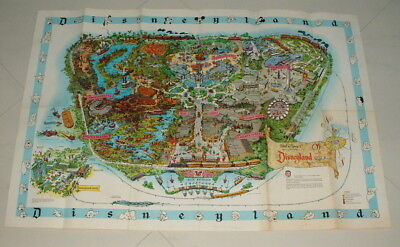 Disneyland 1962 Large 30 Inch By 44 Inch Souviner  Park Map