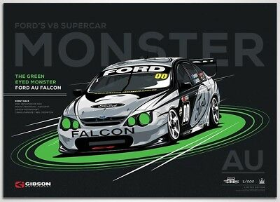 Ford AU Falcon 'Green Eyed Monster' Race Debut Limited Edition Print Poster