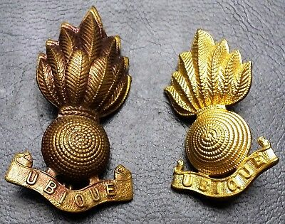 Pair of Vintage Royal Canadian Military Ubique Cap Badges - Great Condition