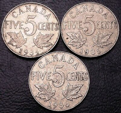 Lot of 3x Canada 5 Cents Nickel Coins ***1934, 1935, 1936*** Great Condition