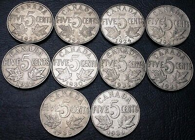 Lot of 10x Canada 5 Cents Coins ***1922 to 1936*** Great Condition