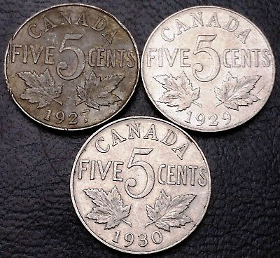 Lot of 3x Canada 5 Cents Nickel Coins ***1927, 1929, 1930*** Great Condition