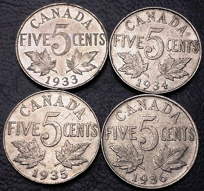 Lot of 4x Canada 5 Cents Nickel Coins - 1933, 1934, 1935, 1936 - Great Condition