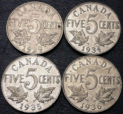Lot of 4x Canada 5 Cents Nickel Coins - 1929, 1934, 1935, 1936 - Great Condition