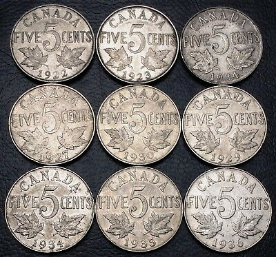 Lot of 9x Canada 5 Cents Coins ***1922 to 1936*** Great Condition
