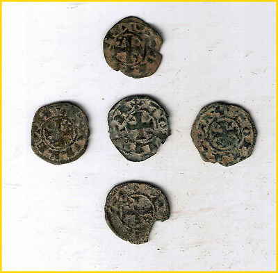 Lot Of 5  Coins Medieval-Spanish-Knights-Templar-Cross-Coin-European-Crusader