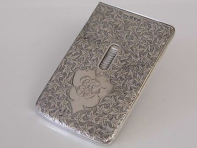 A Rare Antique Victorian Solid Silver Thumb Dispensing Card Case - Chester 1900