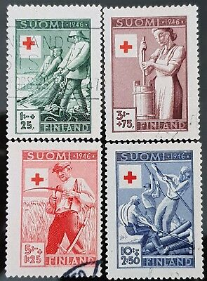 Finland 1946 Sc # B74 to Sc # B77 Red Cross Semi Postal Used Stamps Set