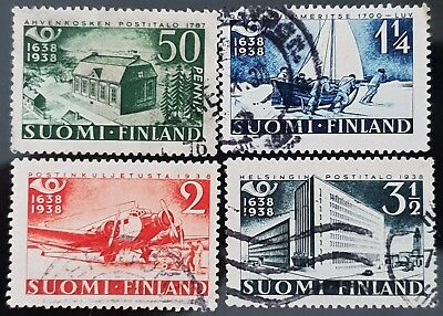 Finland 1938 Sc # 215 - Sc # 218 300th Anniversary Postal System Used Stamps Set