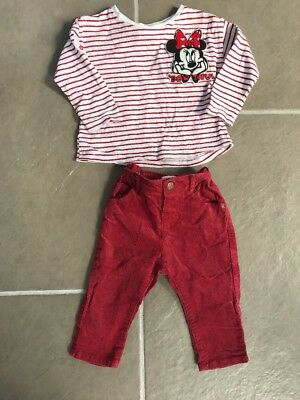 Zara Baby Girls 3-6 Months Mini Mouse Outfit Red Cord Trousers And Top