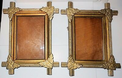 """2 Victorian Gilded Wooden Frames, Original Glass, 10.5"""" x 8"""", Great Condition"""