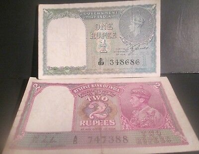 India / British Paper Currency One Rupee (1940) & Two Rupees (1943)