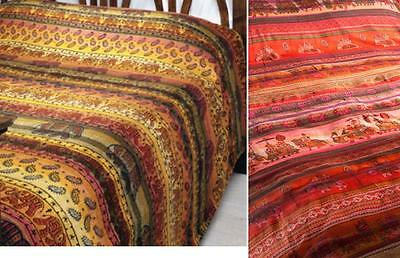 Fairtrade Elephant Khadi Bedspread Throw Wallhanging Red Gold Autumnal Colours