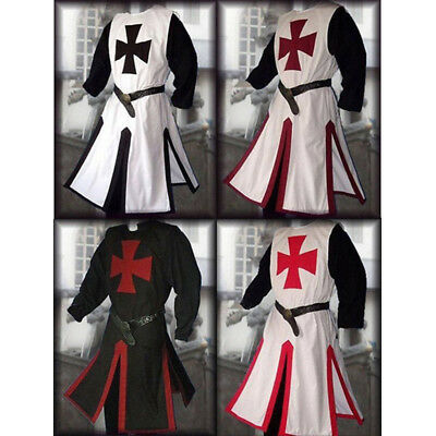 Medieval Templar Knight Crusader Surcoat Tunic Reenactment Cosplay Party Costume