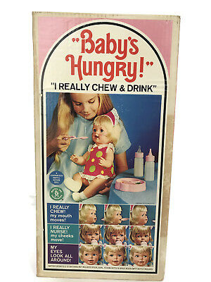 Vintage 1966 Mattel Baby's Hungry Eating Doll Original Box Clothing Accessories