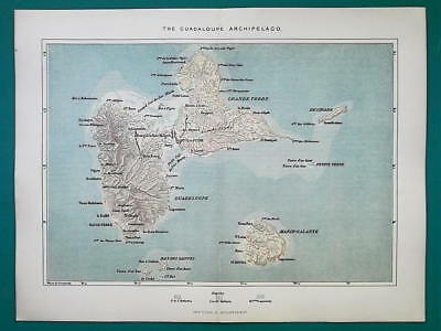 1891 MAP - GUADELOUPE Archipelago Saintes Islands Marie Galante Desirade