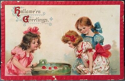Girls Bobbing For Apples ~ Halloween Postcard Artist Signed Frances Brundage