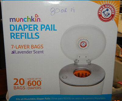 Munchkin Arm & Hammer Diaper Pail Refill Bags - 20-Count NEW