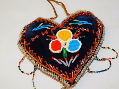 Antique BEADED VELVET Heart PIN CUSHION Sawdust Filled Pin Keep Native American