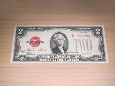 1928-F Two $2 Dollar Note Bill Red Seal 1928F